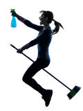 Woman maid housework flying broom silhouette Stock Photography