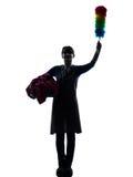 Woman maid housework saluting silhouette Stock Photography