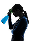 Woman maid housework sprayer silhouette Stock Photography