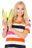 Woman with maize Stock Images