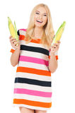 Woman with maize Stock Photography