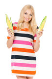 Woman with maize Stock Photo
