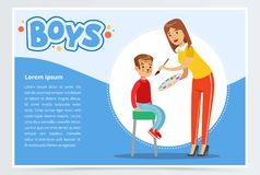 Woman make cute cat makeup for boy. Caring mother make cute cat makeup to one of her sons. Cartoon woman and two boys characters. Painting face for kids party Royalty Free Stock Images