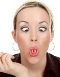 Woman  make a funny face. Isolated on white background Royalty Free Stock Images