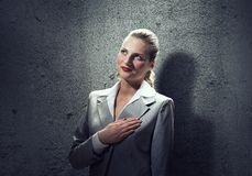 Woman make oath stock photos