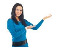 Woman make presentation royalty free stock image