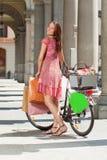 Woman make shopping bike Royalty Free Stock Image