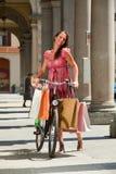 Woman make shopping bike Stock Photo