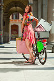 Woman make shopping bike Stock Photography