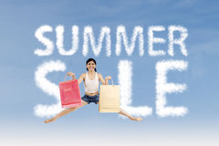 Woman make summer sale sign Royalty Free Stock Photos