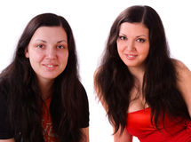 Woman before and after make-up. Royalty Free Stock Photography