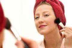 Woman make up. Close up of a pretty woman make up royalty free stock photos