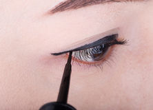 Woman make-up with black eyeliner. Close-up woman make-up with black eyeliner Royalty Free Stock Photo