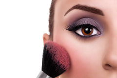 Woman Make Up Blush. Beautiful woman make up and blush brush. Makeup royalty free stock photo