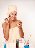 Woman with a make-up brus Royalty Free Stock Photos