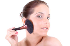 Woman with make up brush Stock Photo