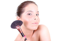 Woman with make up brush Royalty Free Stock Photos