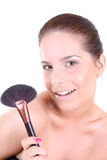 Woman with make up brush Stock Photography