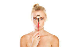 Woman with make-up brush Stock Photo