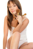 Woman with make-up brushes Royalty Free Stock Photo
