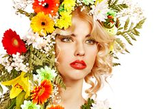 Woman with make up and flower. Stock Photo