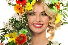 Woman with make up and flower Royalty Free Stock Image