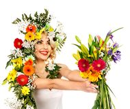 Woman with make up and flower. Stock Photos