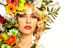Woman with make up and flower. Royalty Free Stock Image