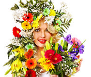 Woman with make up and flower. Royalty Free Stock Photo
