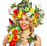 Woman with make up and flower. Stock Image