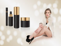 Woman and make up gift Royalty Free Stock Photo