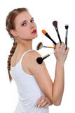Woman with make-up pencils Stock Image