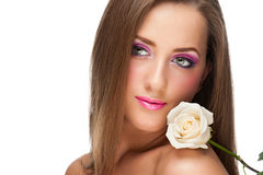 Woman with make-up with rose Stock Image
