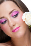 Woman with make-up with rose Royalty Free Stock Images