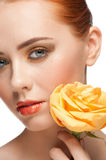 Woman with make-up and rose Royalty Free Stock Photography