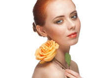 Woman with make-up and rose Royalty Free Stock Photos