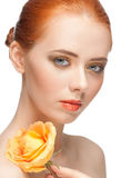 Woman with make-up and rose Royalty Free Stock Images