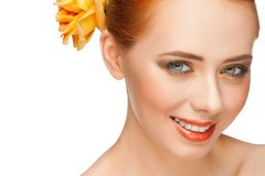 Woman with make-up with  rose Royalty Free Stock Photography