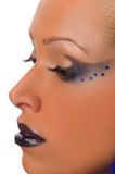 Woman with make-up of strasses Royalty Free Stock Photography