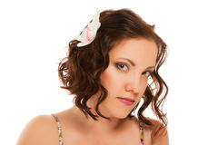 Woman with make up  on white Stock Photography