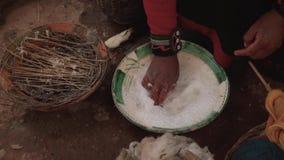 Woman make wool textile.Handmade traditional colorful wool. Peru woman make alpaca textile .
