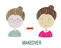 Woman makeover - with make up and hairdo. Vector graphic illustration Stock Image