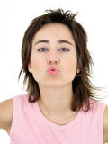 Woman Makes A Kissing Motion Stock Images
