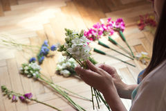 A woman makes bouquet Stock Photography