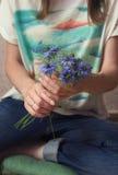 A woman makes bouquet Stock Image