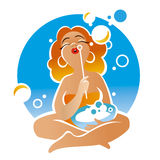 Woman makes bubbles Royalty Free Stock Image