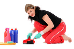 Woman makes cleaning Royalty Free Stock Photo