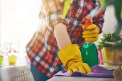 Woman makes cleaning. Beautiful young woman makes cleaning the house. Girl rubs dust royalty free stock photos