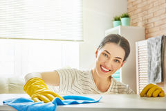 Woman makes cleaning. Beautiful young woman makes cleaning the house. Girl rubs dust Stock Photography