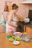 The woman makes a dinner. Stock Image